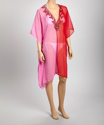 Pink & Red Sheer Gem Embroidered Tunic