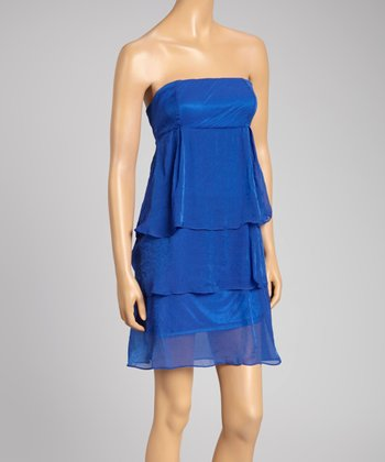 Royal Blue Tiered Strapless Dress - Women