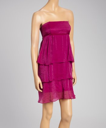 Berry Tiered Strapless Dress - Women