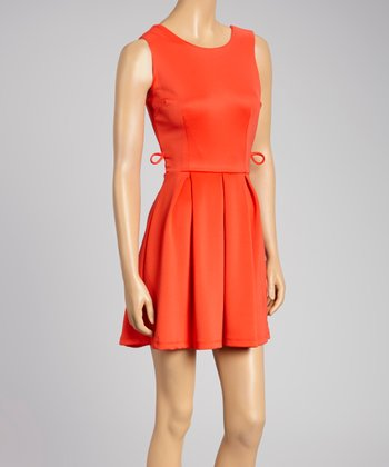 Coral Pleated Sleeveless Dress - Women