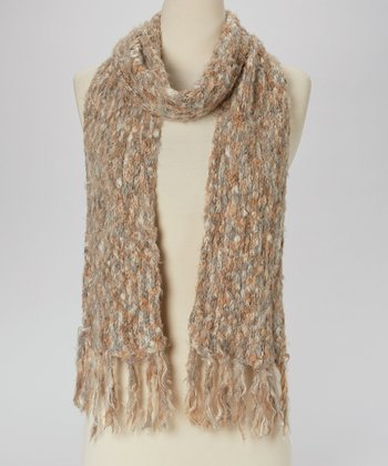 Gray & Tan Fringe Knit Scarf