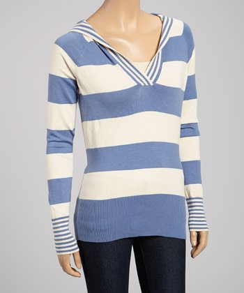 Blue & White Stripe Hooded Pullover