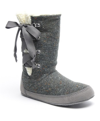Dark Gray Knit Slipper Boot