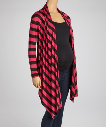 Fuchsia Stripe Maternity Open Cardigan
