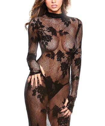 Fantasy Lingerie Black Floral Lace Chemise & G-String - Women