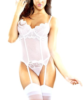 Fantasy Lingerie White Lace Embroidered Bustier & G-String - Women