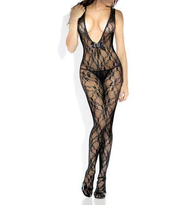 Fantasy Lingerie Black Lace Open-Crotch V-Neck Body Stocking - Women