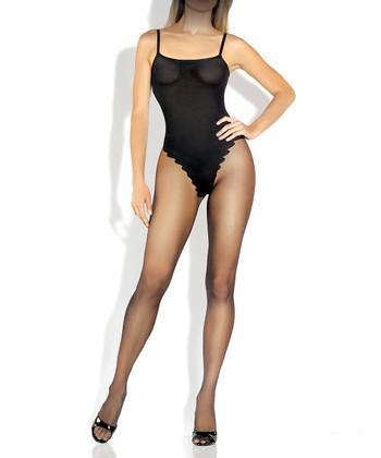 Fantasy Lingerie Black Faux-Teddy Body Stocking - Women
