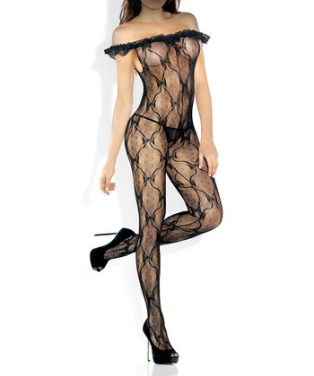 Fantasy Lingerie Black Sheer Open-Crotch Off-Shoulder Body Stocking - Women
