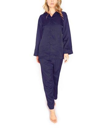 Navy Silk Pajamas - Women