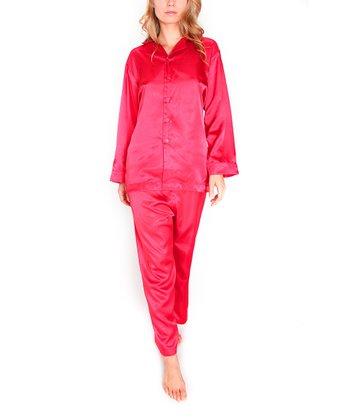 Cherry Silk Pajamas - Women