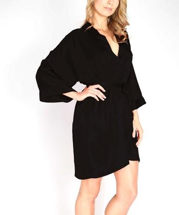 Black Charmeuse Robe - Women