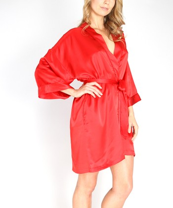 Red Charmeuse Robe - Women