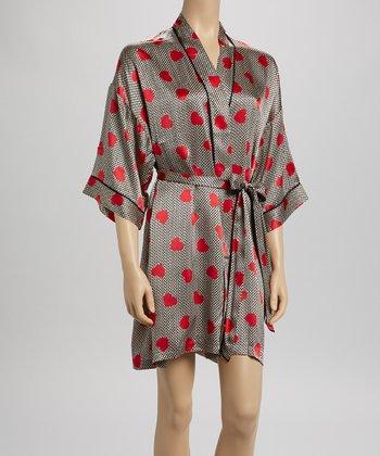 Ivory Gingham Heart Silk Robe - Women
