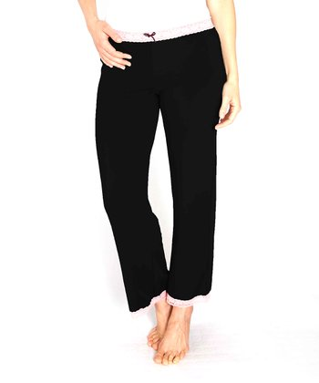 Black Lace-Trim Microfiber Pajama Pants - Women