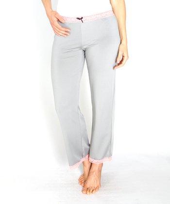 Gray Lace-Trim Microfiber Pajama Pants - Women