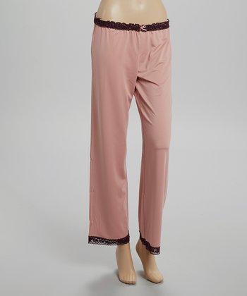 Pink Lace-Trim Microfiber Pajama Pants - Women
