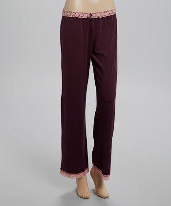 Plum Lace-Trim Microfiber Pajama Pants - Women