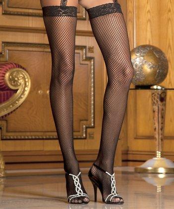 René Rofé Black Lace-Top Sheer Thigh-High Stockings Set - Women