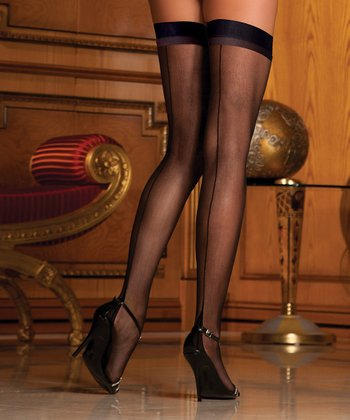 René Rofé Black Back-Seam Sheer Thigh-High Stockings Set - Women