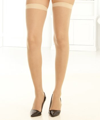 René Rofé Nude Back-Seam Sheer Thigh-High Stockings Set - Women