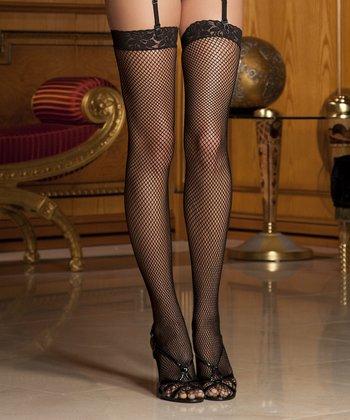 René Rofé Black Lace-Top Fishnet Thigh-High Stockings Set - Women