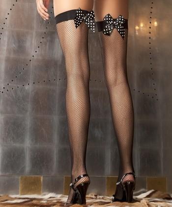 René Rofé Black Bow Fishnet Thigh-High Stockings Set - Women