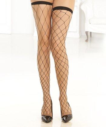René Rofé Black Fence-Net Thigh-High Stockings Set - Women