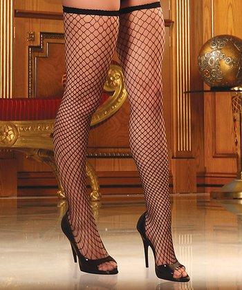 René Rofé Black Diamond-Net Thigh-High Stockings Set - Women