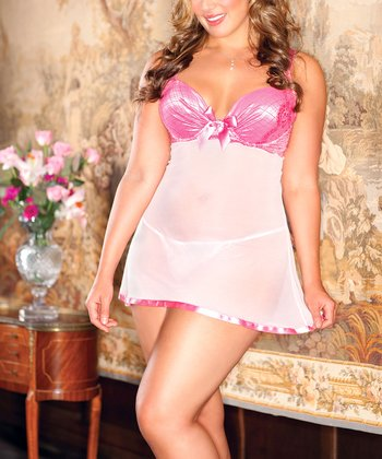 iCollection Pink Sheer Open-Back Babydoll & G-String - Plus