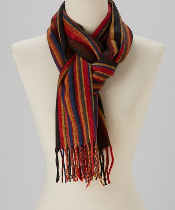 Black & Red Stripe Cashmere Scarf