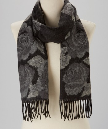 Gray Rose Cashmere Scarf