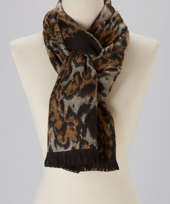 Taupe Animal Cashmere Scarf