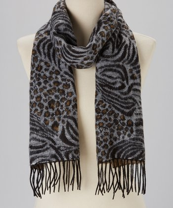 Black & White Animal Cashmere Scarf