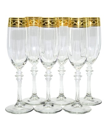 Gold Scroll Flute Glass - Set of Six