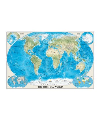 World Ocean Floor Laminated Topographical Map