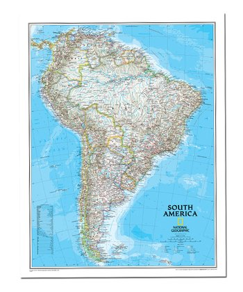 South America Classic Laminated Map