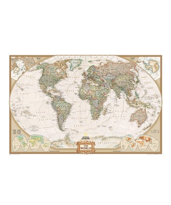 Large World Executive Laminated Map