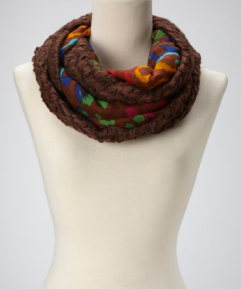 Brown Leopard & Netting Infinity Scarf