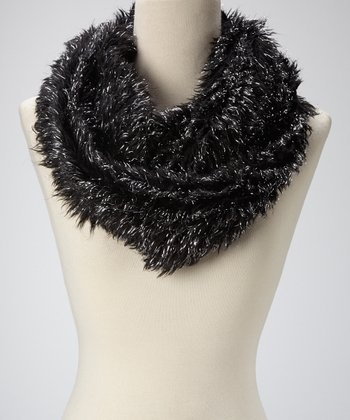 Black Metallic Faux Fur Infinity Scarf