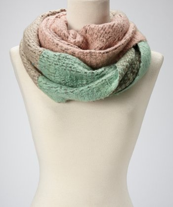 Pink & Mint Color Block Infinity Scarf