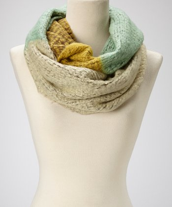 Yellow & Mint Color Block Infinity Scarf
