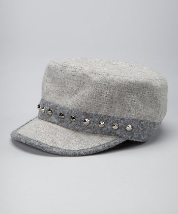 Gray Studded Cadet Cap
