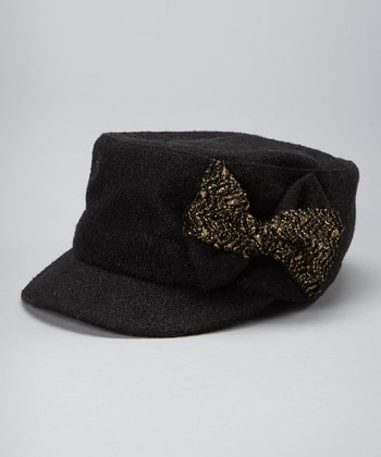 Black Metallic Bow Newsboy Cap