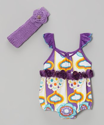 Purple California Dream Bodysuit & Headband - Infant