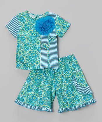 Blue Ocean Field Blossom Top & Wide-Leg Pants - Toddler & Girls