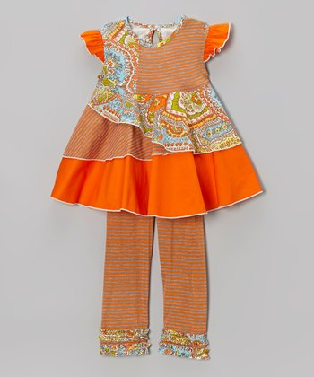 Orange Vintage Boho Swing Dress & Leggings - Toddler