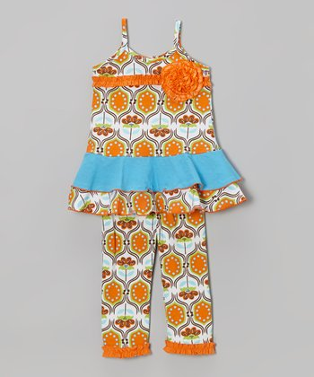 Orange Modern Twist Tunic & Leggings - Infant, Toddler & Girls