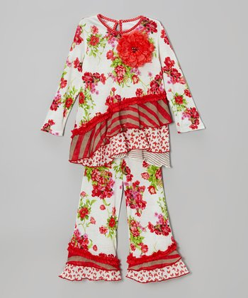 Red French Picnic Blossom Tunic & Pants - Infant & Toddler
