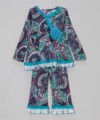 Navy Daydream Paisley Tunic & Pants - Infant, Toddler & Girls